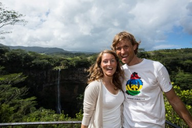 haakon stillingen and guro kristine larsen at chamarel waterfalls mauritius 375x250 Mauritius